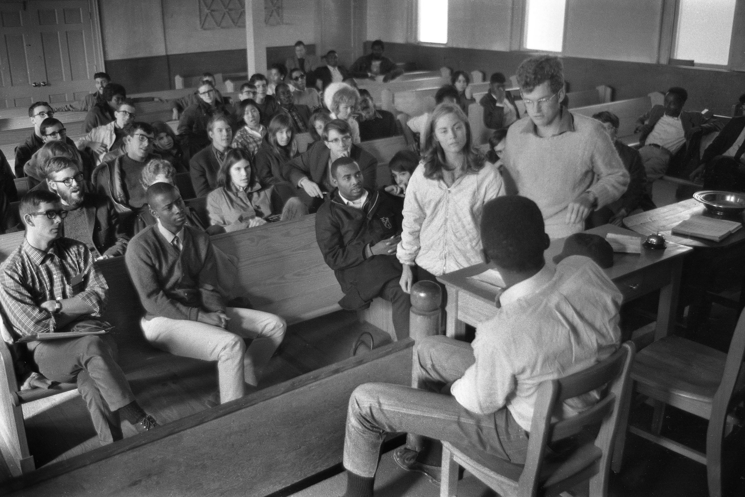 Northern students role-play during voter registration orientation in a black church in Jackson, Mississippi, December, 1965